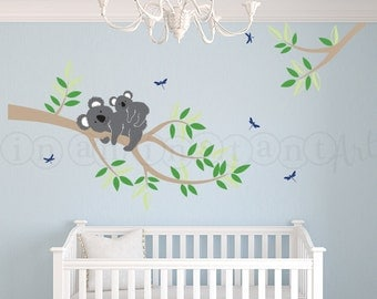 Branch with Mother and Baby Koala Bear Decal, Koala Bear Wall Decal for Nursery, Kids or Childrens Room 101