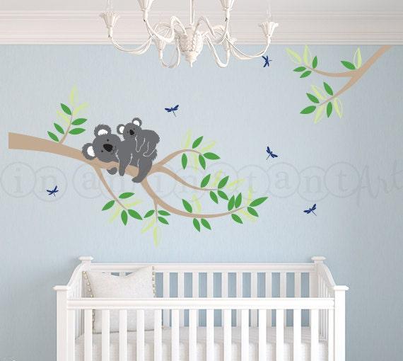 Branch with mother and baby koala bear decal koala bear wall - Stickers koala chambre bebe ...