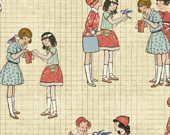 Windham Fabrics - Handmade - Vintage Girls - Beige-Choose Your Cut