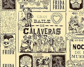 Alexander Henry - Folklorico - Baile de Calaveras - Tea/Sepia- Choose Your Cut 1/2 or Full Yard