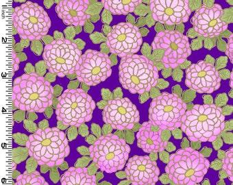 Kona Bay - Exotic Garden - Beautiful Mums - Purple/Gold Metallic - Choose Your Cut 1/2 or Full Yard