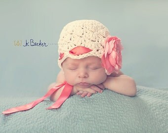 baby girl hat, newborn girl hat, crochet girls hat, baby hat, kids hat, girls hat, peony, hat with peony