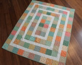 On Sale Baby or Lap Quilt in Orange and Green Reproduction Fabrics