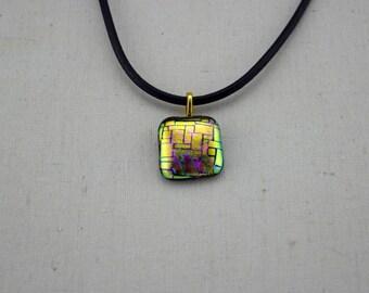 OOAK Dichroic Glass Pendant - Fused Glass Pendant - Dichroic Pendant - Dichroic Jewellery - Pendant Necklace