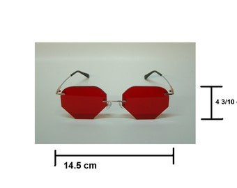Red lens rimless cosplay aviators costume glasses