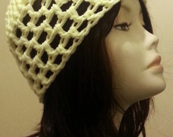 SALES - Crocheted Mesh Hat - Mesh Cap - Beanie - Baby Yellow Color - FREE UK delivery