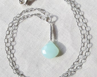 Aqua Chalcedony Fine Silver and Sterling Silver Necklace