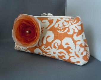 Caramel and Ivory/Beige Linen Wedding Clutch, Bridal Clutch, Mothers of the Bride, Groom Wedding Clutch
