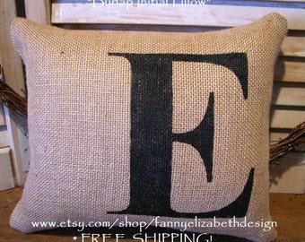 """Burlap Initial Pillow FREE SHIPPING 12"""" x 10""""-  Pillows- Initial Pillow- Burlap Pillows- Decorative Pillows- Pillow- Burlap Pillow- Burlap"""