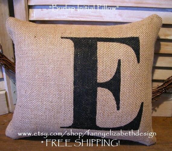 """Burlap Initial Pillow FREE SHIPPING 11"""" x 14""""-  Pillows- Initial Pillow- Burlap Pillows- Decorative Pillows- Pillow- Burlap Pillow- Burlap"""