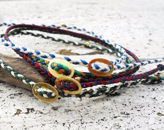 Mens bracelet, friendship bracelet in waxed cord with gold bead