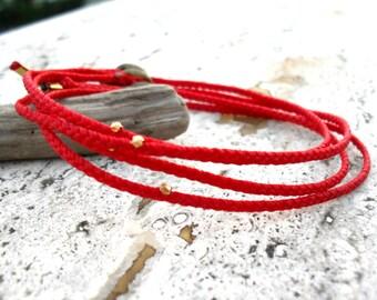 Mens bracelet, Red string bracelet, friendship bracelet wish bracelet waxed cord vermail bead