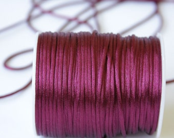 eggplant purple Rattail Cord, Knotting cord, 2.5 mm  Satin cord, Beading cord, Jewelery supplies, cord for bracelet, 10 meters (11 yards)