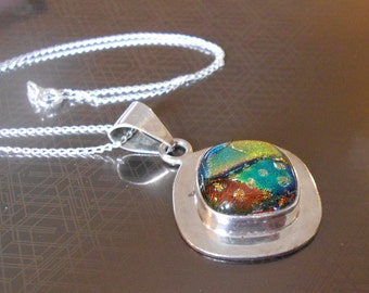 Vintage dichroic pendant necklace.  Sterling silver.  Fused glass.