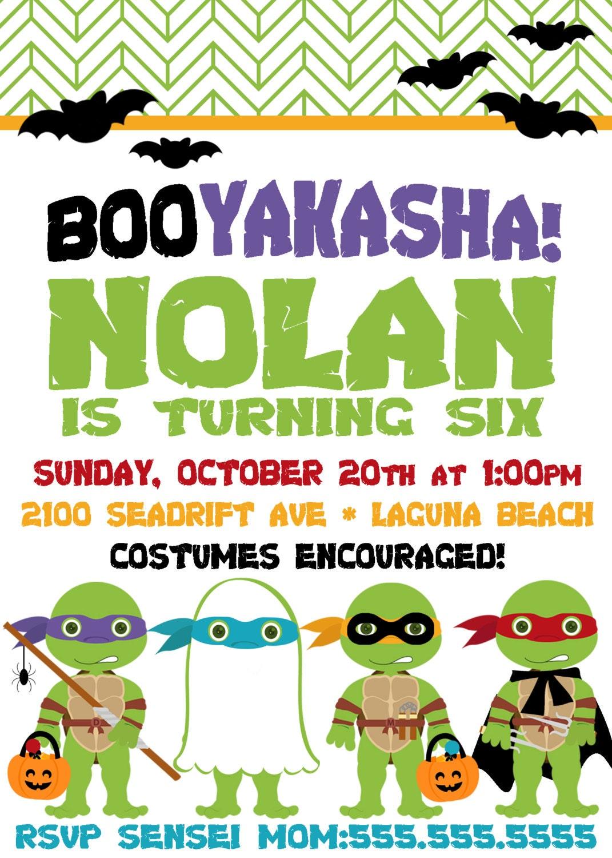TMNT Halloween Party Invite - TMNT Invitation -  Ninja - Party Supplies