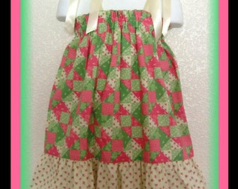 CLEARANCE Size 3T/4T Pink & Green Patchwork Floral Design Boutique Pillowcase Dress w/ Baby Roses Print Bottom Layer