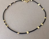 Gold Bead BLACK Silk String Bracelet also in Sterling Silver and Rose Gold Fill