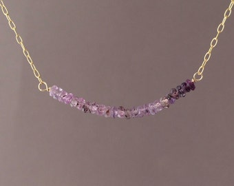Purple Sapphire Ombre Beaded Necklace Gold or Silver