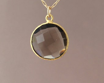 Gold Smoky Quartz Circle Necklace Long or Short