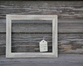 "Old White Chalk Paint Chicken Wire Frame 9 7/8"" x 11 3/4"""