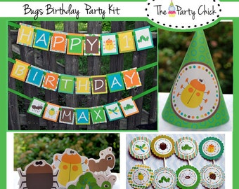 Bugs ,   Party Invitations & Decorations - Printable Party Kit - Editable Text you personalize at home - Instant Download