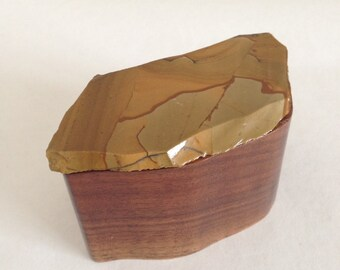 Wooden Box with Stone Lid - Picture Rock