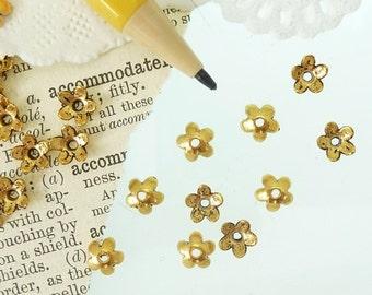 30 tibetan style antique golden simple flower small bead caps