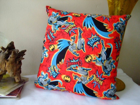 Items similar to Small Pillow Batman Square Decorative Accent Travel on Etsy