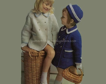 Crochet Coat and Hat PDF Vintage Pattern B043 from WonkyZebraBaby