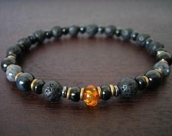 Mens Baltic Amber Power Mala Bracelet // Lava Rock, Black Moonstone, and Blue Tiger Eye Mala Bracelet // Yoga, Buddhist, Meditation, Jewelry