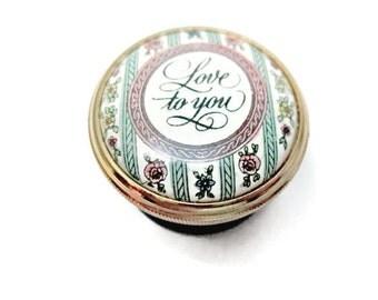 Vintage Halcyon Days Enamel Pill Box - 1986 - Love to You