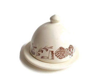 Vintage French KitchenWare Le Comptoir De Famille Butter Cheese Keeper 1980s Transferware