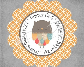 Return Address Labels - Whimsical Patchwork Owl Scalloped Round Labels with Orange Geometrical Pattern - Set of 45 Custom Personalized