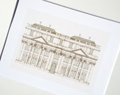 Architectural Drawing Building with Corinthian Columns Facade Archival Print
