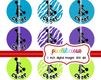 Bottle Cap Image Sheet - Instant Download - Cheer Silhouettes -  1 Inch Digital Collage - Buy 2 Get 1 Free