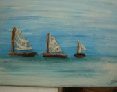 handmade,vintage nautical boat picture,art ,3 little boats with lace sails-Summer seaside decor