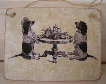 dogs-bassett hounds tea party on shabby aqua background- large wooden tag/dresser/door hanger