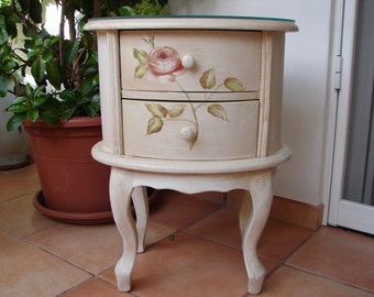 shabby French painted roses & magnolia,shabby chic,wooden night stand,bedside/table/drawers