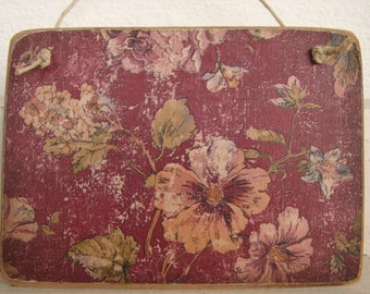 grungy Victorian style floral wallpaper image on wooden tag to hang on dresseror door