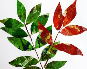 Autumn Leaf Collage, paper, mixed media, green and red, branches, tree, nature, simple, colorful, painted paper cloth