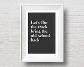 Flip the Track // 90s Themed Art Print // Song Lyric // Printable Art // Instant Digital Download