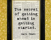 """Mark Twain Quote """"The Secret"""", Dictionary Print, Recycled Vintage Book Page, Upcycled Art, Home or Office Wall Decor"""