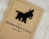 "Funny Birthday Card - Vintage - Donkey - 100% Recycled Paper - ""Have a Redonkulous Birthday"""