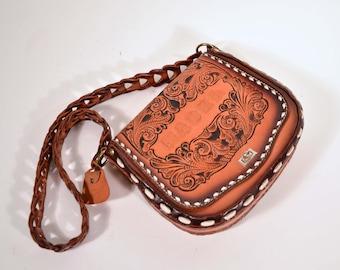 Vintage Tooled Leather Shoulder Handbag, Country Western, Southwestern, Miss Tony Lama, Mable, Boho Hipster Bag, Rodeo Festival Leather Bag