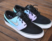 Pastel Color Tie Dye Nike Zoom Stefan Janoski Sneakers - Custom Hand Painted Shoes - Nike SB - Painted Color Ombre Gradient, Men and Women