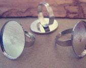 20 pcs White K adjustable ring bases 18mmx25mm