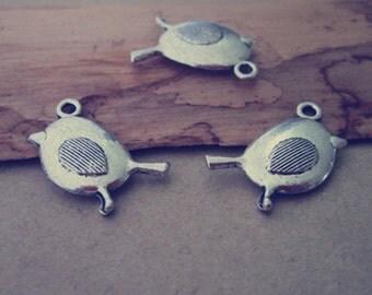 12pcs of Antique silver  bird charm pendant 12mmx20mm