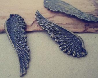 10pcs antique Bronze wing pendant Charms 15mmx49mm