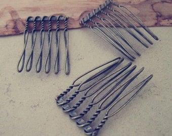 50 Pcs  22mmx35mm (6teeth) antique bronze Hair Combs