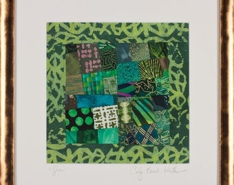 GRASS: Fine Art Framed Art Quilt in Greens